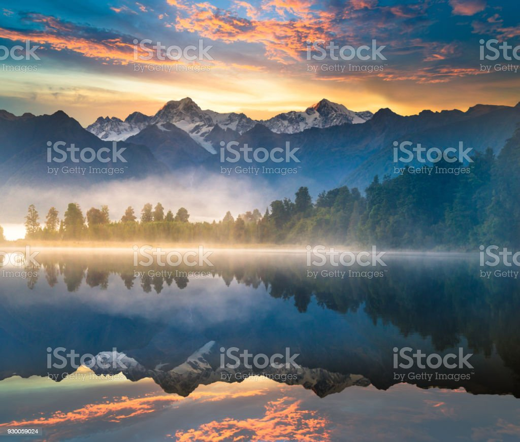 Beautiful scenery landscape of the Matheson Lake Fox Glacier town Southern Alps Mountain Valleys New Zealand royalty-free stock photo