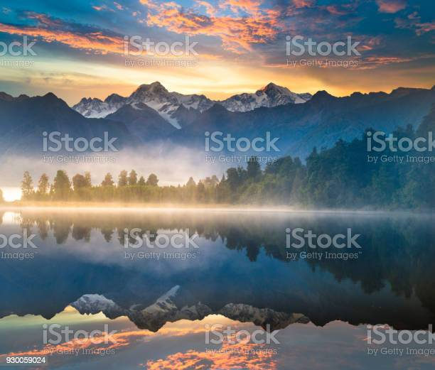Photo of Beautiful scenery landscape of the Matheson Lake Fox Glacier town Southern Alps Mountain Valleys New Zealand