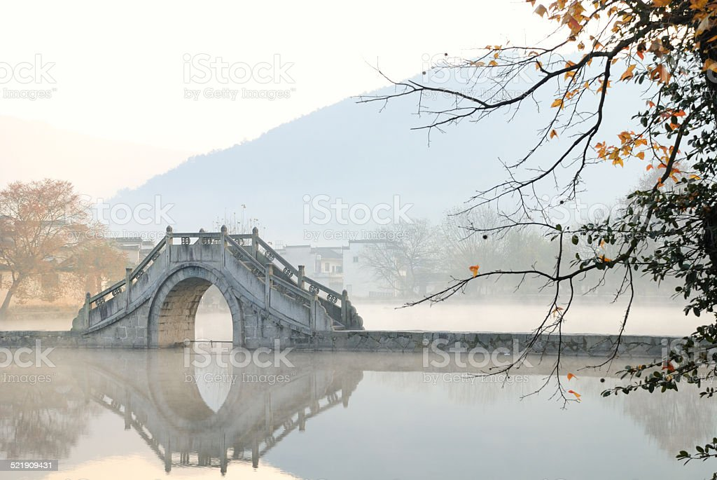 Beautiful scenery of a Lake's Bridge stock photo