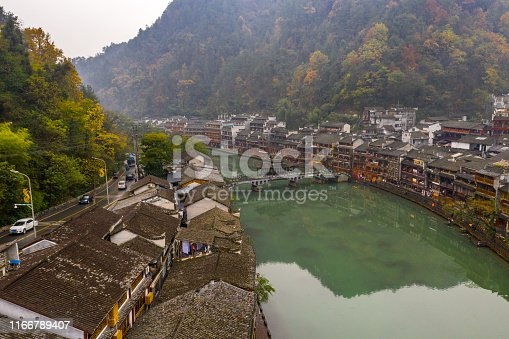 Peaceful scenery of ancient architecture in Fenghuang old town