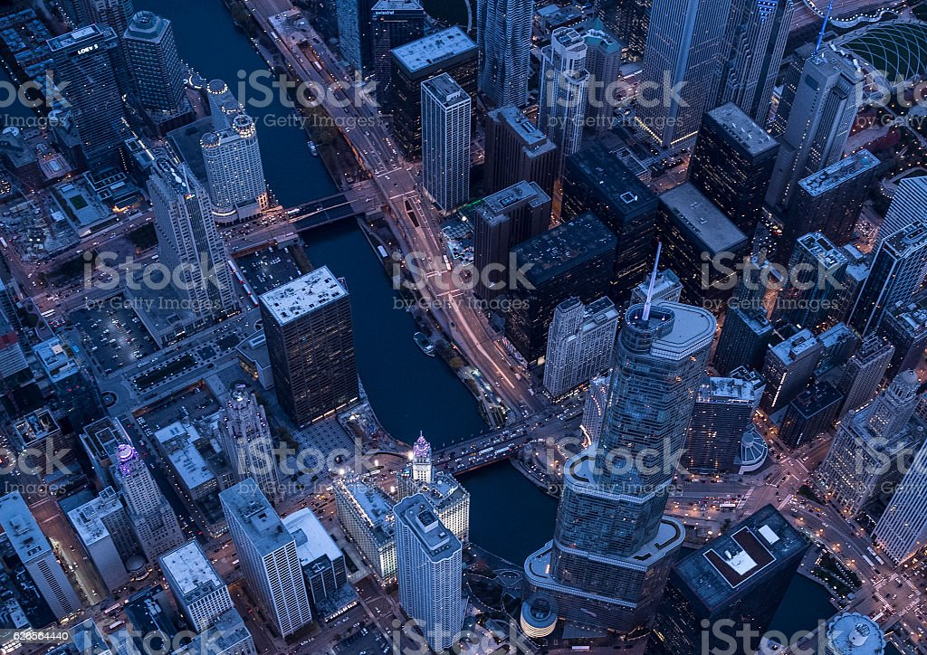 Beautiful scenery of Chicago in the evening stock photo