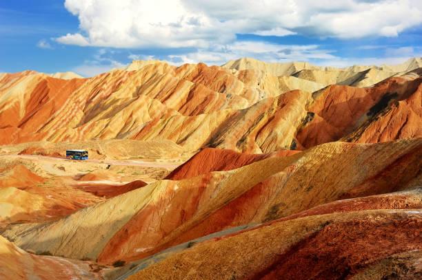 beautiful scenery of Danxia landform  in the National Geopark  of Zhangye, Gansu, China. stock photo