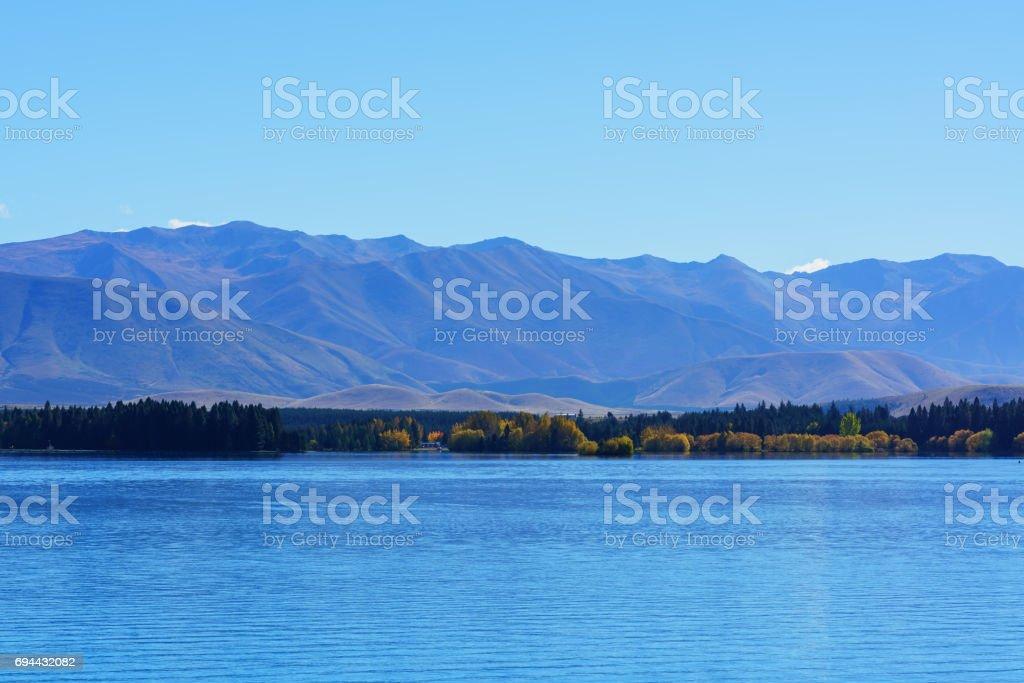 Beautiful scenery of Lake Pukaki , Mackenzie District, Canterbury region, South Island of New Zealand stock photo
