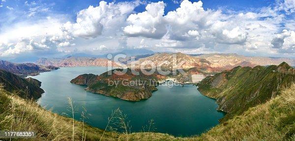 beautiful scenery of Lijiaxia reservoir in Dingxi, Qinghai province, China.