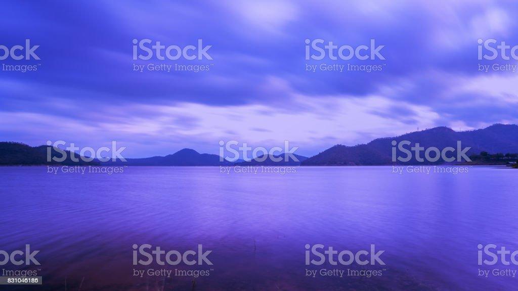 Beautiful scenery of Srinagarind Reservoir or Srinakharin dam in twilight , Kanchanaburi Province , Thailand stock photo