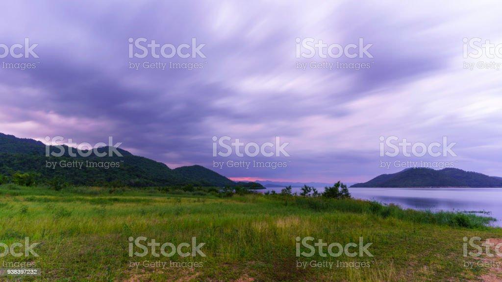 Beautiful scenery of Srinagarind Reservoir or Srinakharin dam in the evening , Kanchanaburi , Thailand stock photo