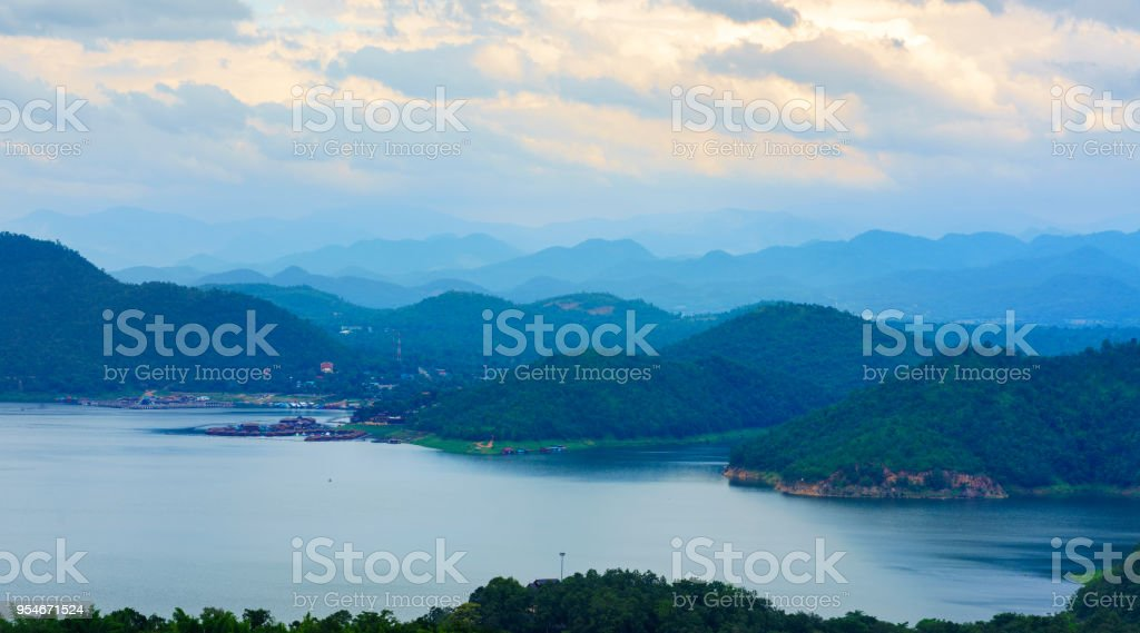 Beautiful scenery of Srinagarind Reservoir or Srinakharin dam , Kanchanaburi , Thailand stock photo