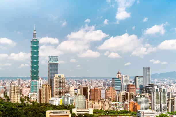 Beautiful scenery of Taipei City with lardge modern builings stock photo