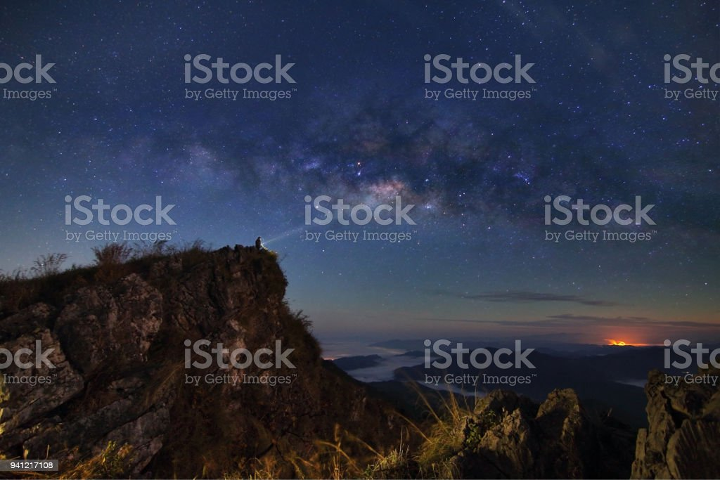 Beautiful scenery of the milky way on night sky at Doi Pha Phung at Nan province in Thailand.This is very popular for photographers and tourists.Travel and natural Concept stock photo
