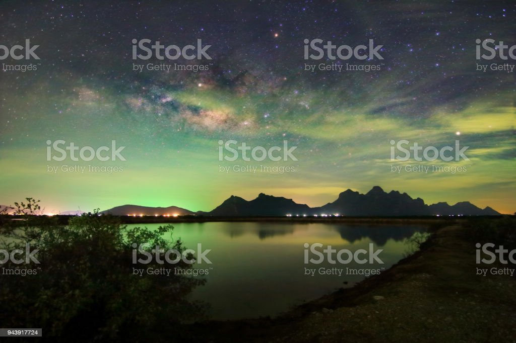 Beautiful scenery of the milky way on night sky at Khao Sam Roi Yot National Park,Prachuap Khiri Khan Province in Thailand. stock photo
