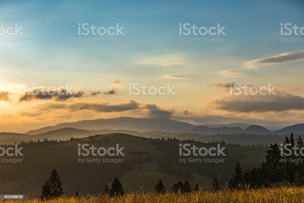 Beautiful scenery of the mountain range stock photo