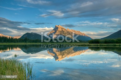 Beautiful scenery of the Vermillion Lakes area of the famous Banff National Park found in Alberta, Canada.