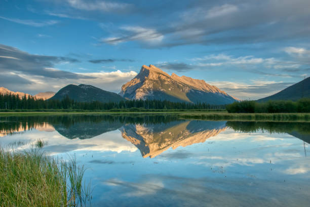 Beautiful Scenery of Vermillion Lakes at Sunset in Banff National Park, Alberta, Canada stock photo