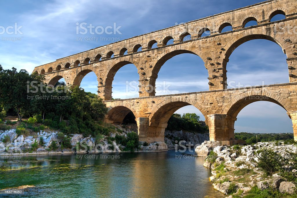 Beautiful scenery view of Pont Du Gard, France stock photo