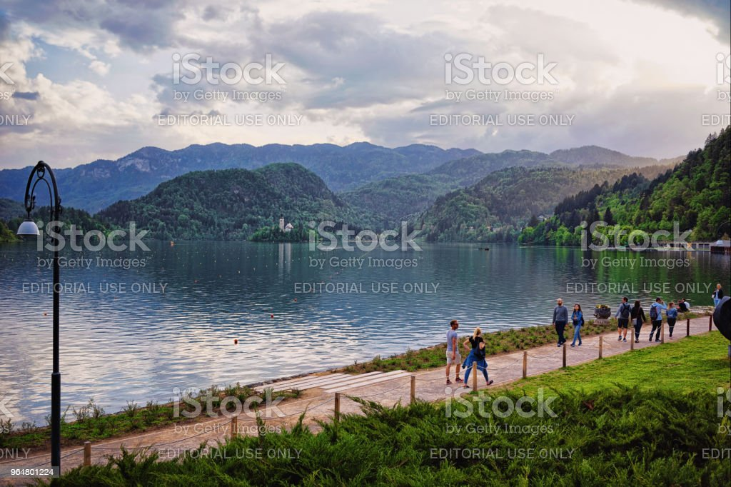 Beautiful scenery with people at Bled Lake Slovenia Europe royalty-free stock photo