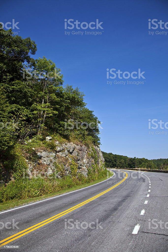 Beautiful scenic country road curves through Shenandoah  Nationa royalty-free stock photo