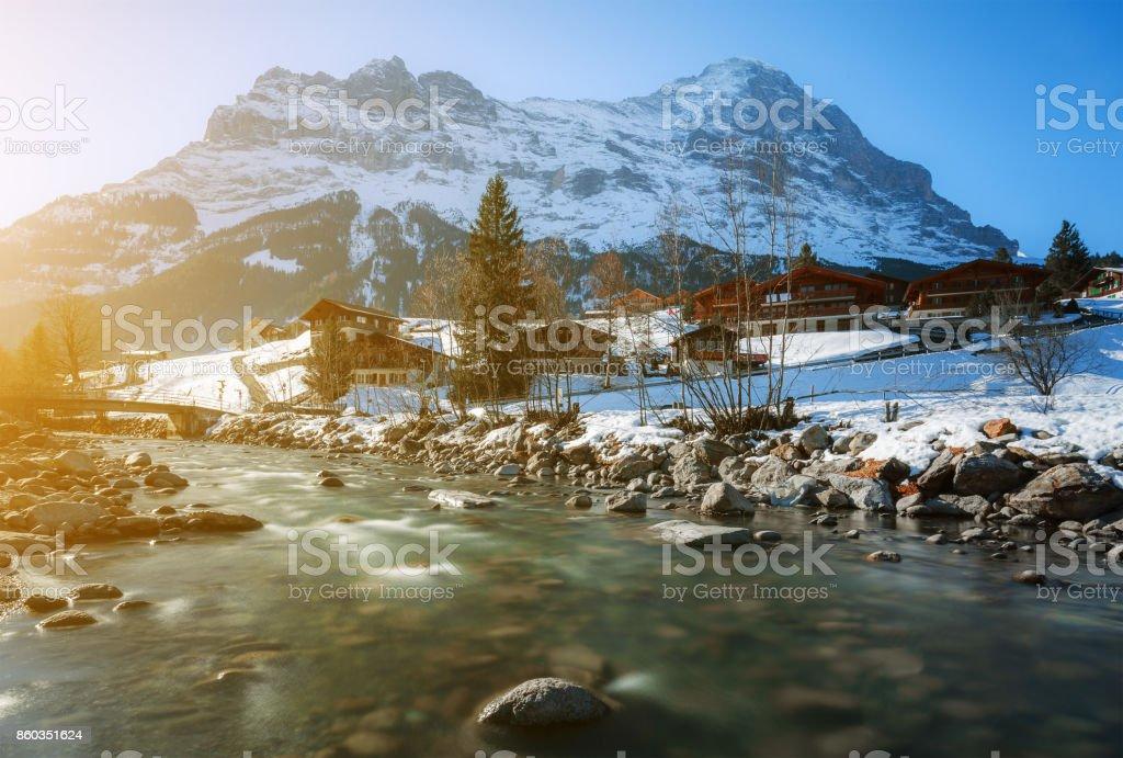 Beautiful scenic landscape in winter, Interlaken, Switzerland, Europe stock photo