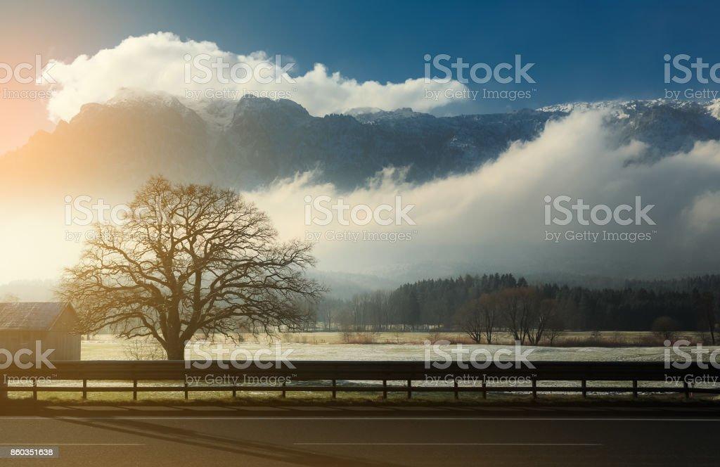 Beautiful scenic landscape in winter, Switzerland, Europe, travel stock photo