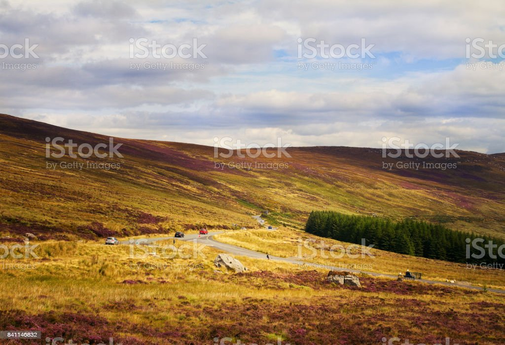 Beautiful scenic mountain landscape. Road to Sally Gap across the Wicklow Mountains. Wicklow Mountains National Park, County Wicklow, Ireland stock photo