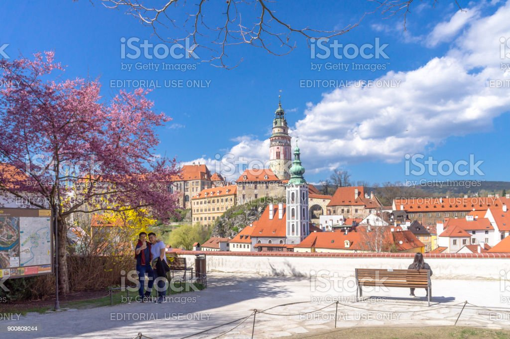Beautiful scenic of Cesky Krumlov a historic, tourist attractions town in the South Czech Republic. stock photo