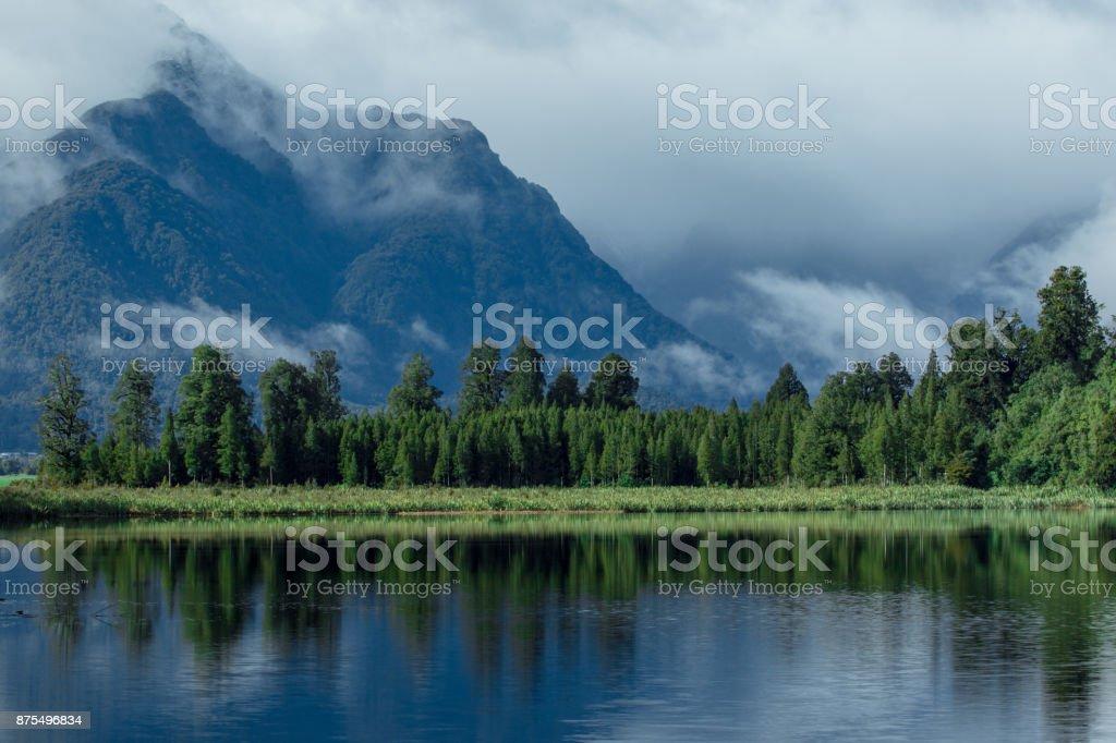beautiful scenic of lake matheson southland new zealand most popular traveling destination stock photo
