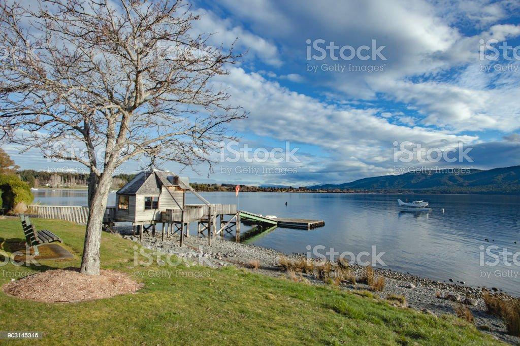 beautiful scenic of lake te anau fiordland national park southland new zealand stock photo