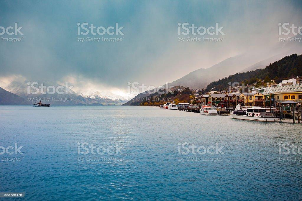 beautiful scenic of lake wakatipu queenstown south stock photo