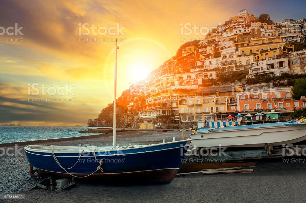 beautiful scenic of positano beach sorrento town south italy imp stock photo