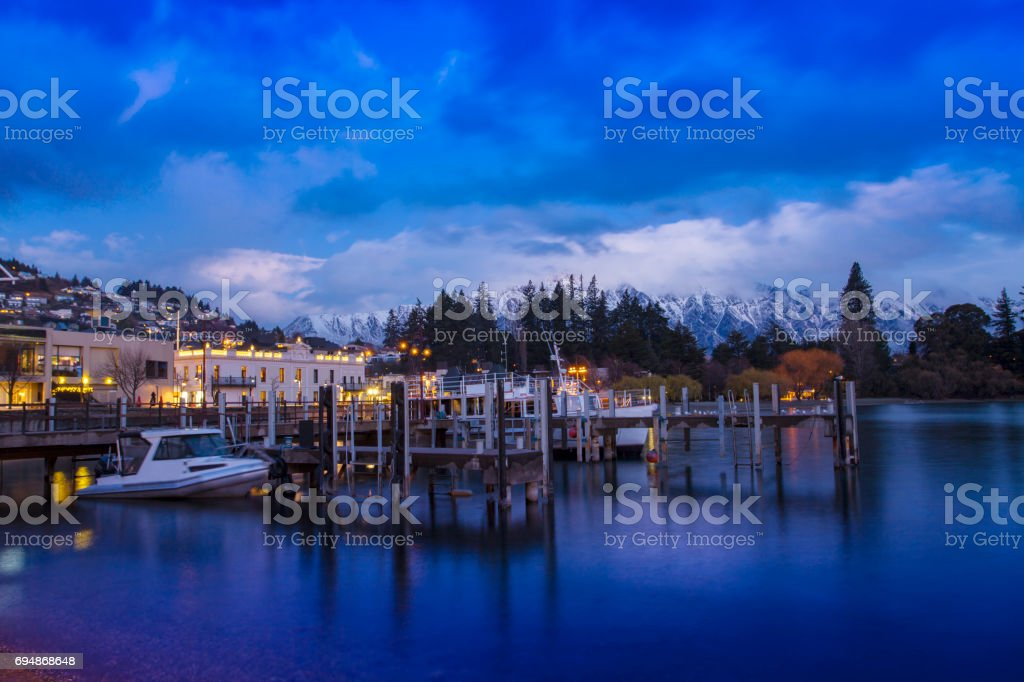 beautiful scenic of queenstown pier most popular traveling destination in south island new zealand stock photo