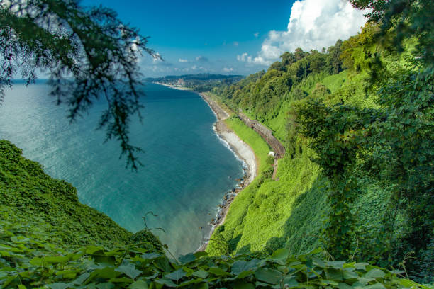 Beautiful Scenic Summer View From Botanical Garden Of Sea stock photo