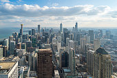 istock Beautiful scenic view of business district of Chicago loop with blue skyline in sunny day. Panoramic view aerial top view or drone architecture view of city. Famous attraction in Chicago, USA. 1159560524