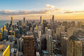 istock Beautiful scenic view of business district of Chicago loop with skyline in evening sunlight. Panoramic view aerial top view or drone architecture view of city. Famous attraction in Chicago, USA. 1177259636