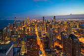 istock Beautiful scenic view of business district of Chicago loop with skyline in evening sunlight. Panoramic view aerial top view or drone architecture view of city. Famous attraction in Chicago, USA. 1190096802
