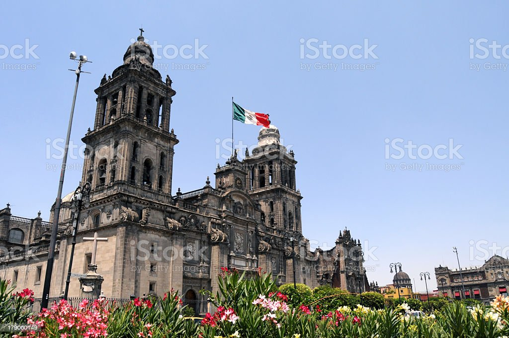 Beautiful scenic view of Mexico City Cathedral stock photo