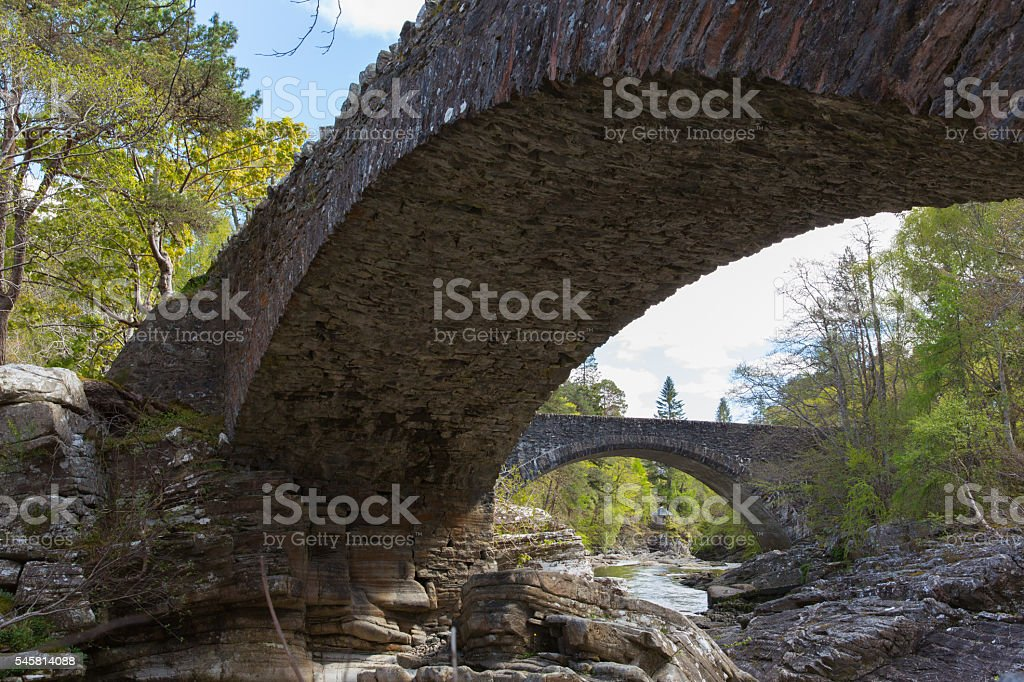 Beautiful Scotland uk Invermoriston bridge built by Thomas Telford stock photo