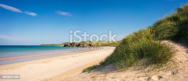The sun shining on Balnakeil Beach, located near Durness in the remote far north of Scotland.