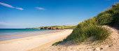 The sun shining on Balnakeil Beach, located near Durness in the remote far north of Scotland.