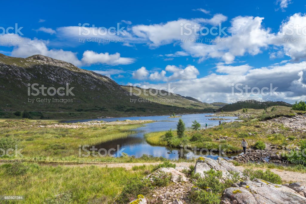 Beautiful scottish Highlands landscape in the summer, near Loch Cluanie, Scotland, Britain stock photo