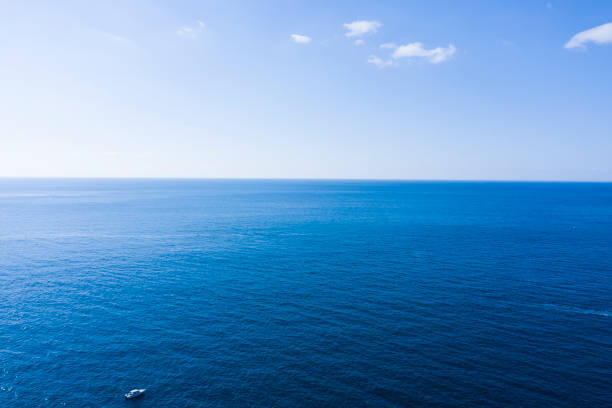A beautiful sea and a yacht stock photo