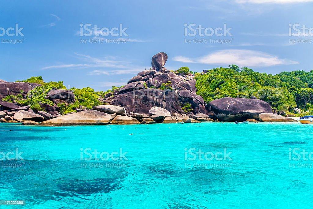 Beautiful sea and blue sky at Similan island stock photo
