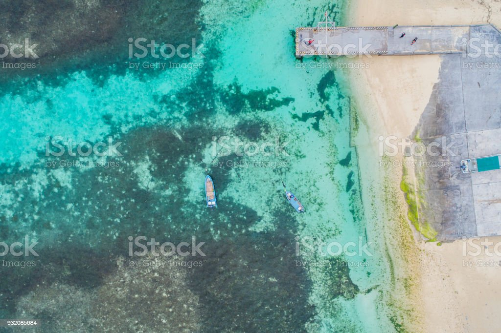 Beautiful sea and boat, and stops. stock photo