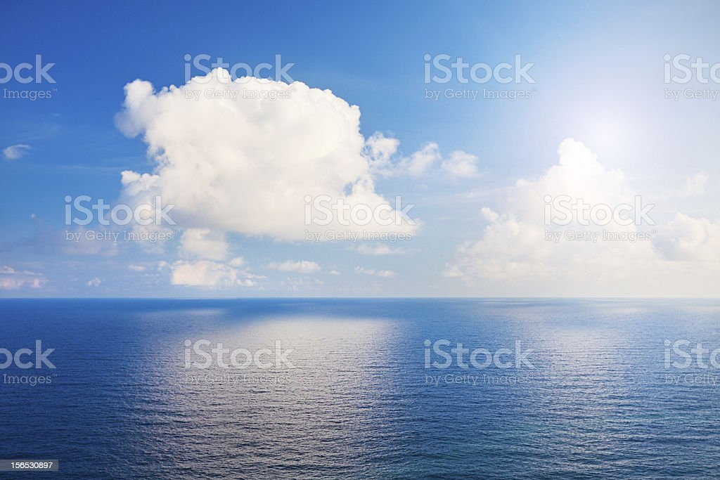 Beautiful sea and clouds sky with sun royalty-free stock photo