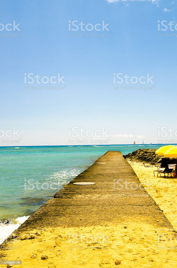 美しい海、空のワイキキ ストックフォト