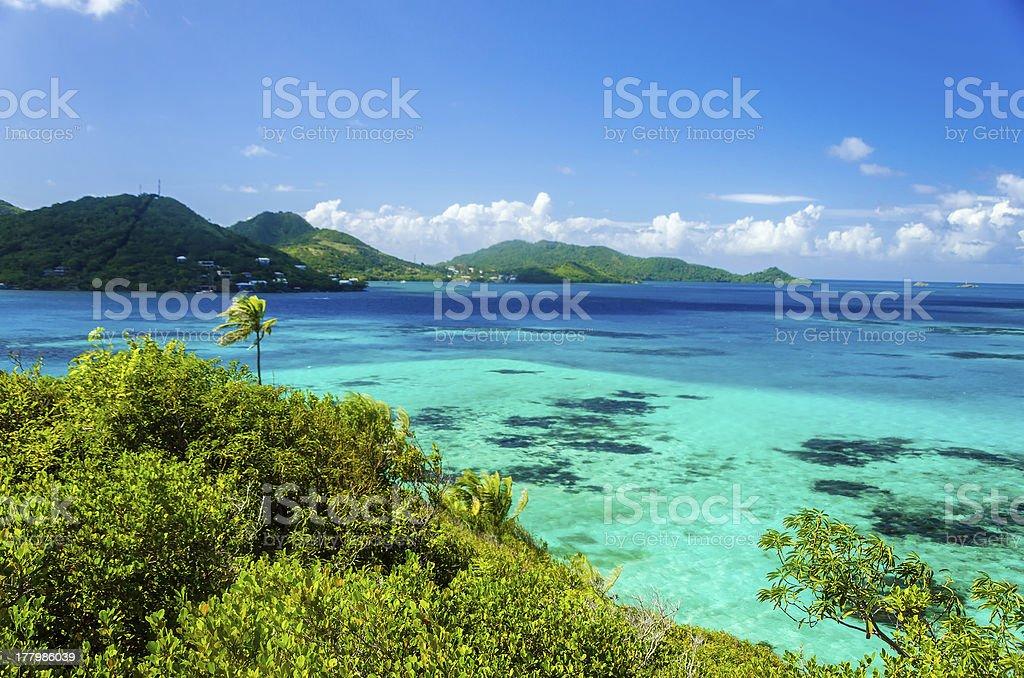 Beautiful Sea and Tropical Island stock photo