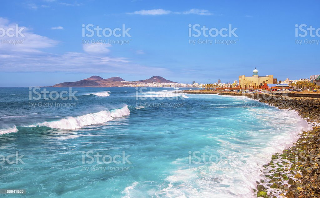 Beautiful Sea at Las Palmas de Gran Canaria stock photo