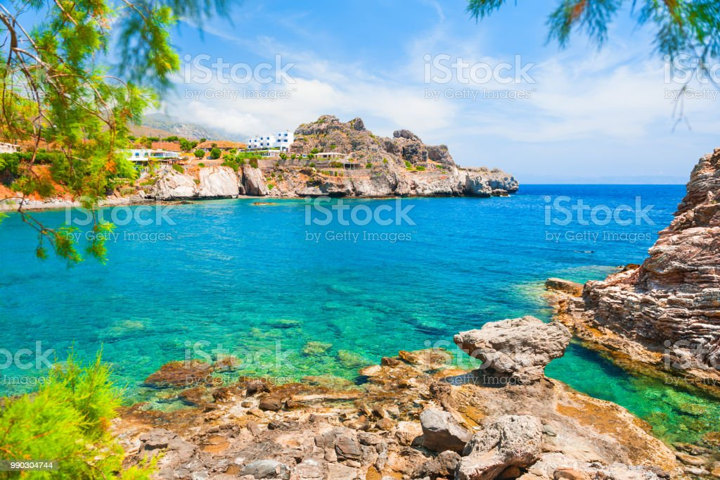 Beautiful Sea Coast With Turquoise Water On Crete Island Greece Stock Photo Download Image Now