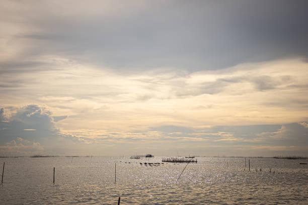 Beautiful sea in the evening stock photo
