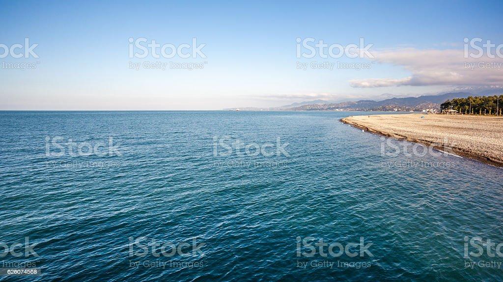 Beautiful sea landscape in Ajaria, Georgia. View on Batumi city stock photo