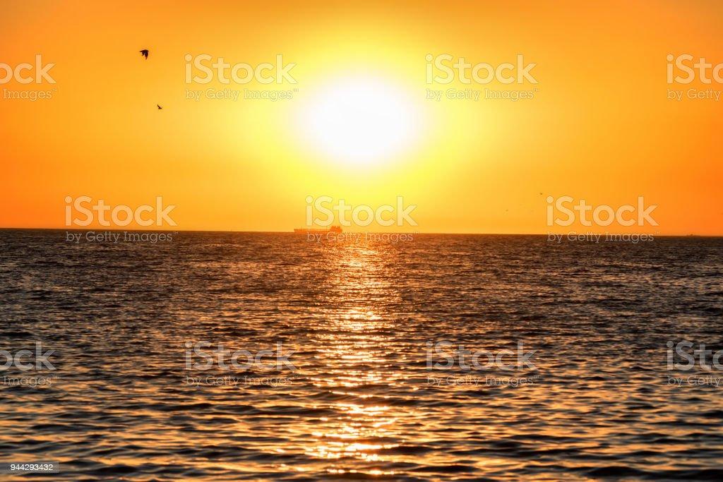Beautiful sea landscape of the Sea of Azov. stock photo
