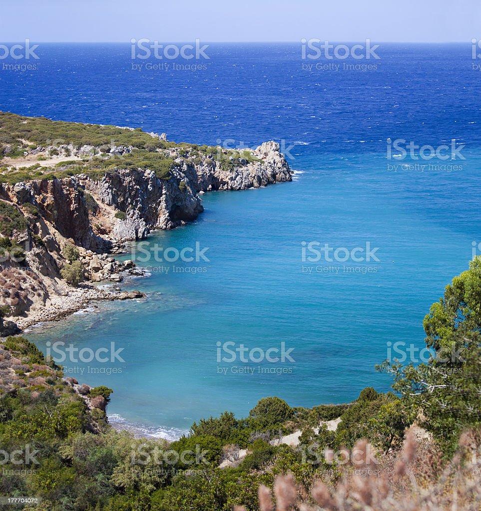 Beautiful sea landscape panorama of Crete royalty-free stock photo